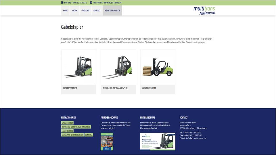 Multi-Trans Mietservice - Homepage